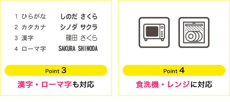 point3:漢字・ローマ字も 対応・point4:食洗機・レンジに 対応
