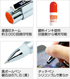 【浸透印ネーム】約3000回捺印可能、【顔料インキ使用】印面側から補充可能、【黒ボールペン】替芯は67L芯(黒)、【タッチペン】シリコンゴムで柔らか